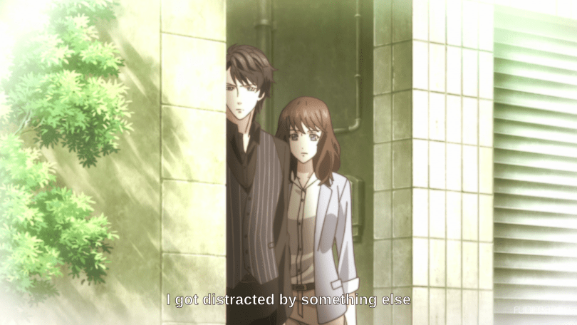 "Rei and a man peer around the corner of a building. Subtitles read ""I got distracted by something else."""