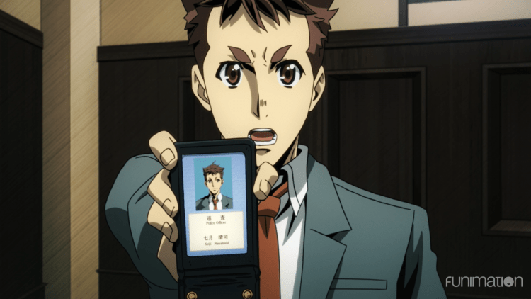 Seiji holds up his detective badge, looking intense