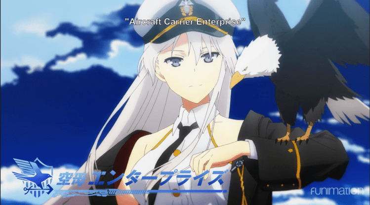 "a white-haired woman with an eagle perched on her arm. onscreen text labels her ""Enterprise"""