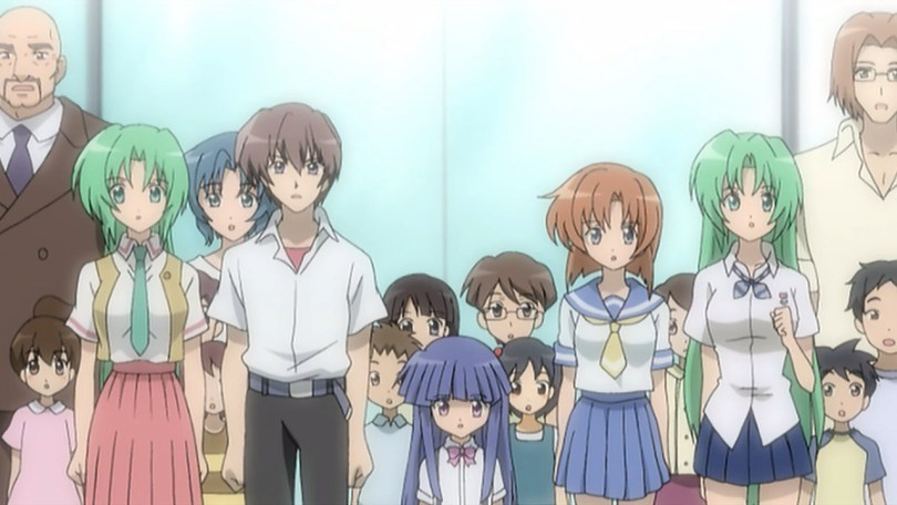 a screenshot of the five main characters from Higurashi: Kai standing in a crowd of children