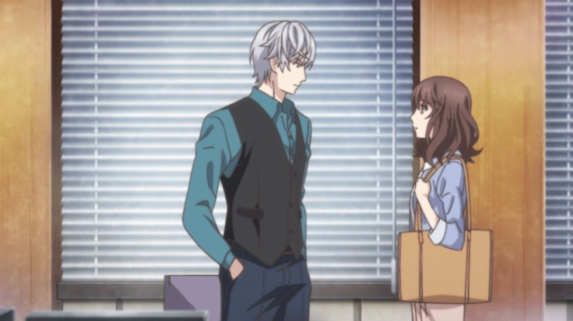 Rei faces a white-haired man in a windowed hallway.