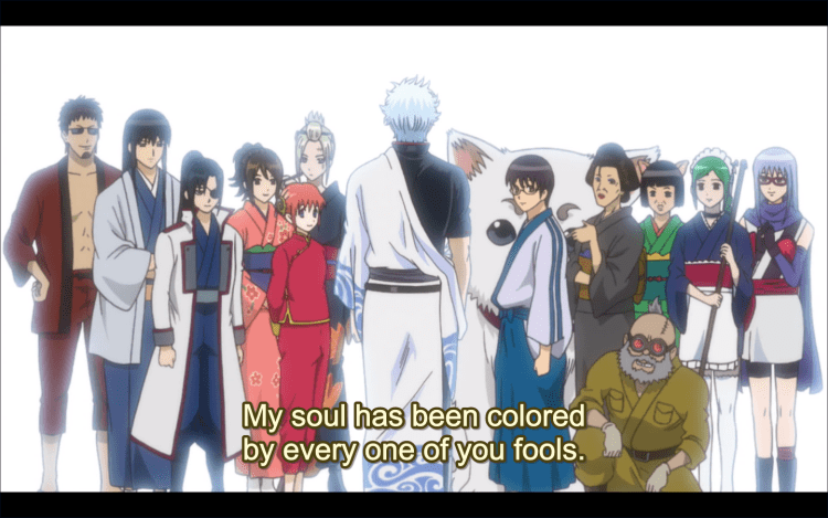 Gin looking at all his friends. subtitle: My soul has been colored by every one of your fools