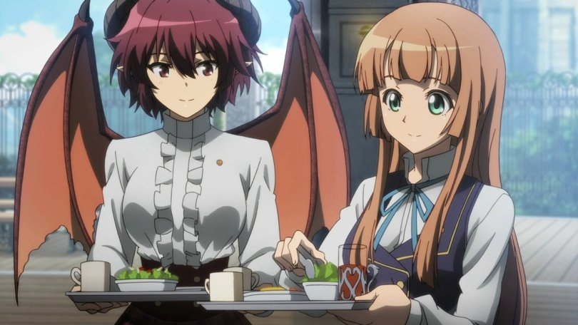 two girls, one with dragon wings, dressed as servers and carrying trays of food