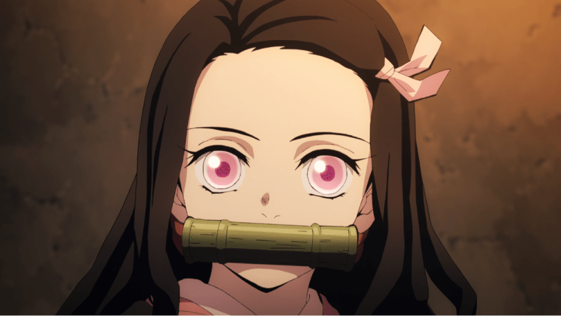 Nezuko with the bamboo gag in her mouth