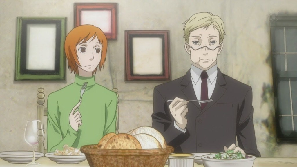The two leads of Ristorante Paradiso sharing a meal