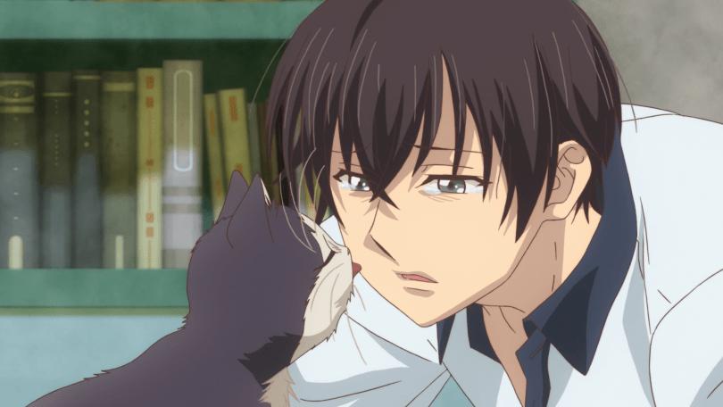 Kitten Haru licking a crying Subaru's nose