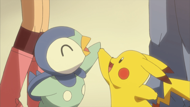 Pikachu and Piplup high-fiving each other