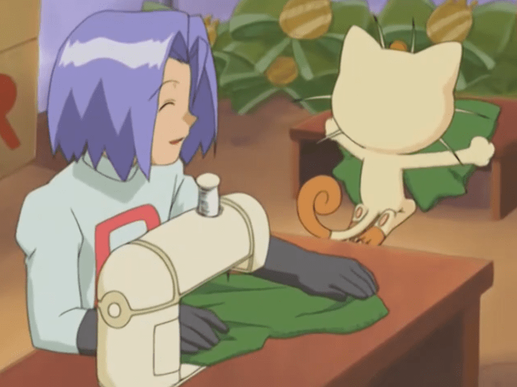 James from Team Rocket operates a sewing machine as he smiles at Meowth, who is spreading cloth out on a table