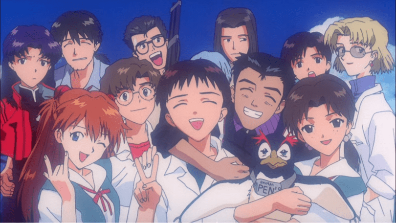 the main cast of Evangelion clustered together and smiling happily