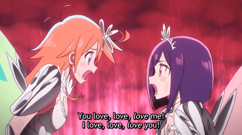 "Cocona and Papika, in magical girl attire, shout ""You love love LOVE me! I love love LOVE you!"""