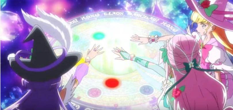 Three PreCure girls reaching toward a magic circle