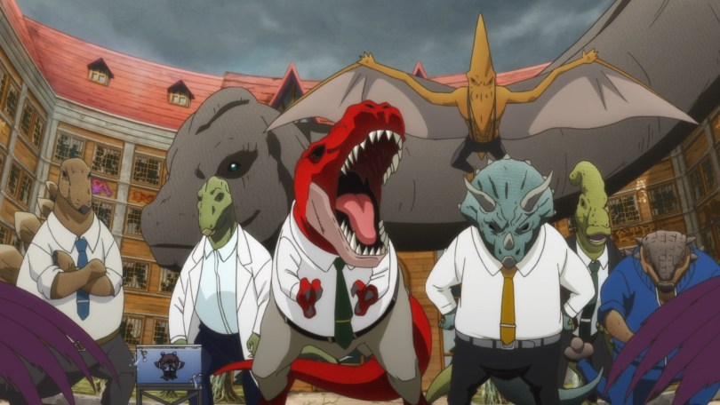 A group of giant and ferocious looking dinosaurs wearing shirts and ties stand before a half destroyed school.