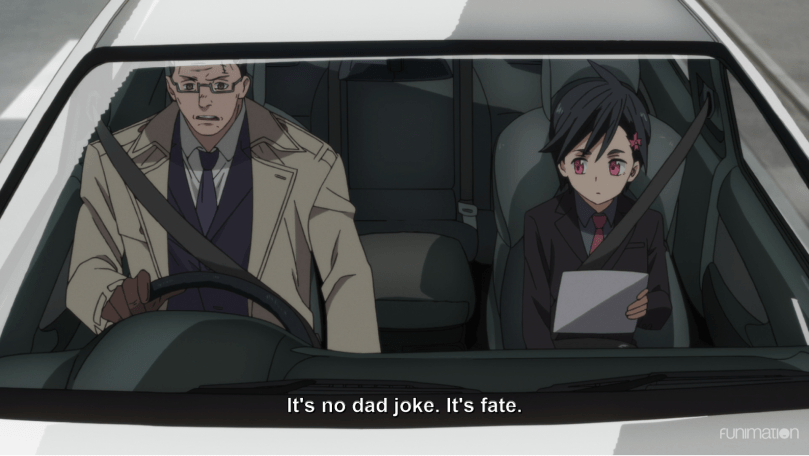 an older man and young woman sitting in a car together. subtitle: It's no dad joke. It's fate.