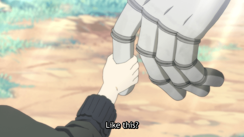 """A child's hand holds a giant golem finger. Subtitle says """"Like this?"""""""