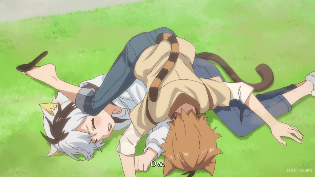 Two cats (Tama and Tora) are tangled together on the grass in human form. Subtitle: Ow