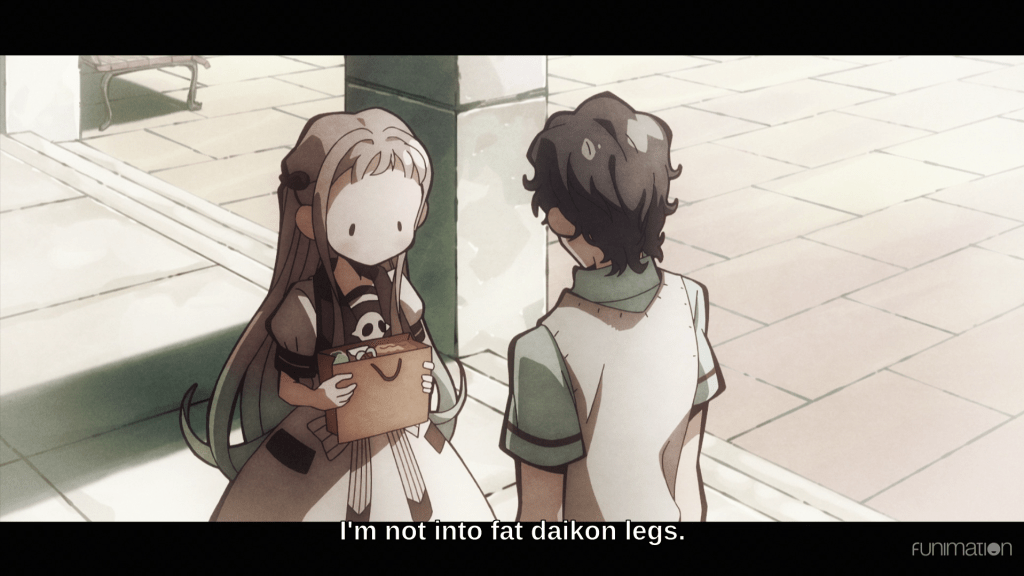 "Hanako looking nonplussed as her crush rejects her for her thick legs. Subtitles read ""I'm not into fat daikon legs."""