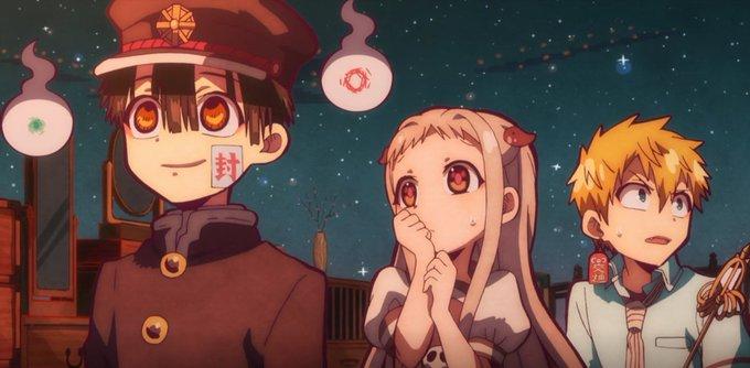 the three leads of Hanako-kun walking through a nighttime supernatural space