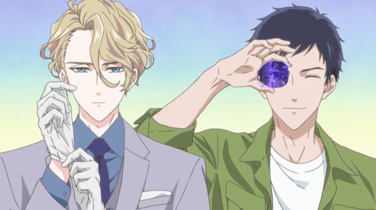 Richard putting on gloves and Seigi holding a gem to his eye
