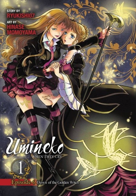 The cover of the Umineko When They Cry comic featuring two women (both Beatrice), one in modern clothing, one in a hoop dress.