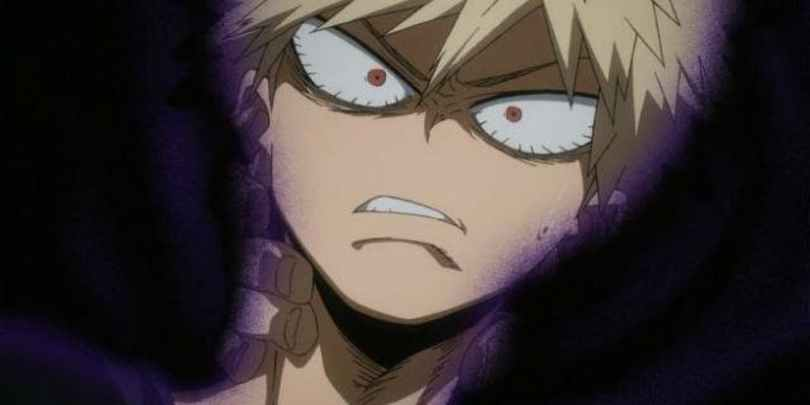Bakugo looking pained with a black aura surrounding him.
