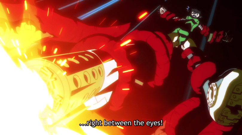 "Sio with tentacles still around each limb, but with a defiant expression. Subtitle text: ""...right between the eyes!"""