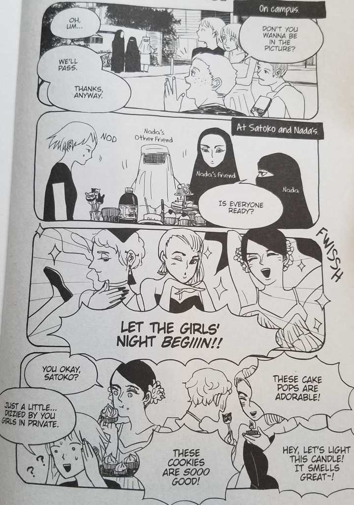 Nada's Muslim friends at her house, removing their burqas for a girl's night