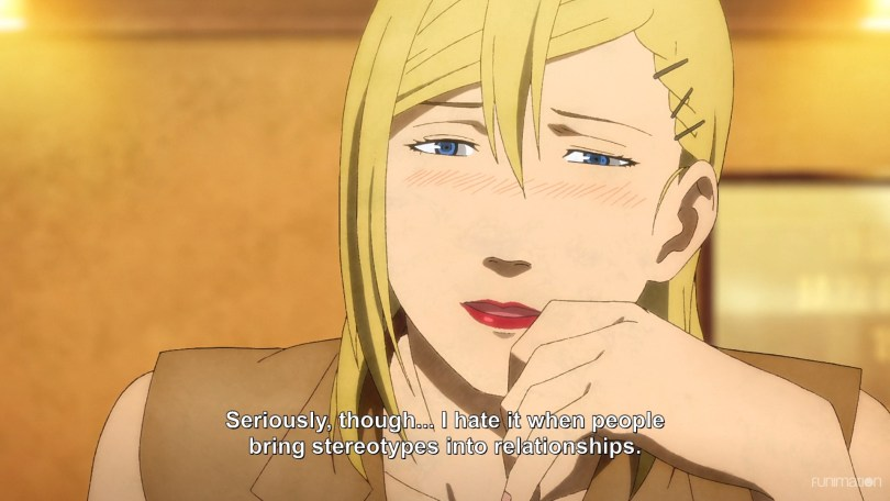 Minare, visibly drunk. Subtitle text: Seriously though... I hate it when people bring stereotypes into relationships.