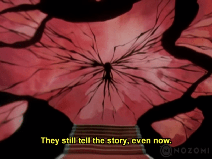 "An abstracted image of cracks emanating from what the silhouette of what appears to be a body, against a pink background that appears to be shattering, or scattered petals. Subtitle text: ""The still tell the story, even now."
