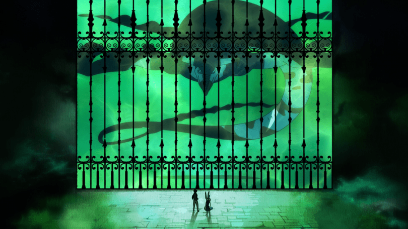 A giant eel-like sea monster swims behind a silhouette of a wrought-iron fence. Two small figures, dwarfed by the sea monster, stand outside the gates looking inward. The entire image is coated in a sickly green glow.