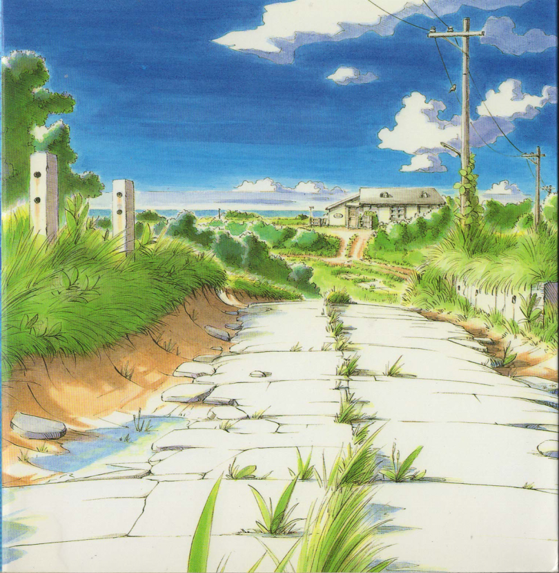 A road with overgrown weeds leads to a small building sits in the distance under a blue sky