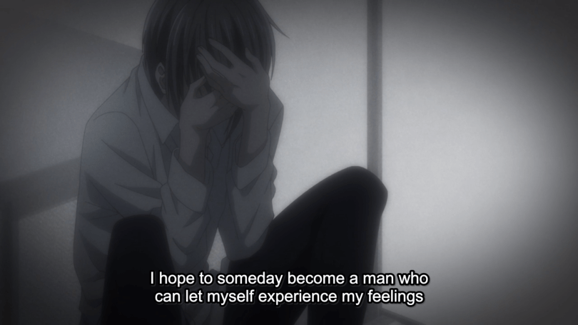 Yuki with head in hands. subtitle: I hope to someday become a man who can let myself experience my feelings