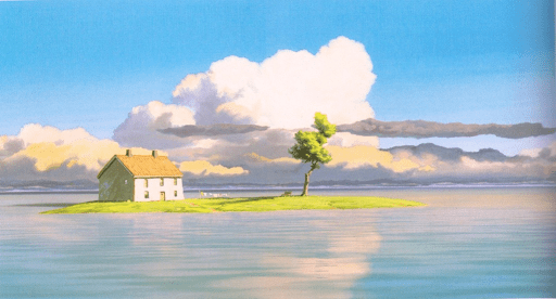 a house on an island surrounded by water