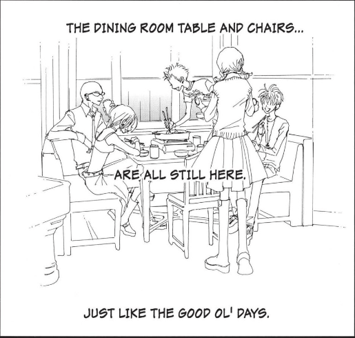 Outlines of the members of Black Stones and Hachi smiling at sitting at the table in 707. Text: The dining room table and chairs... are all still here. Just like the good ol' days.""