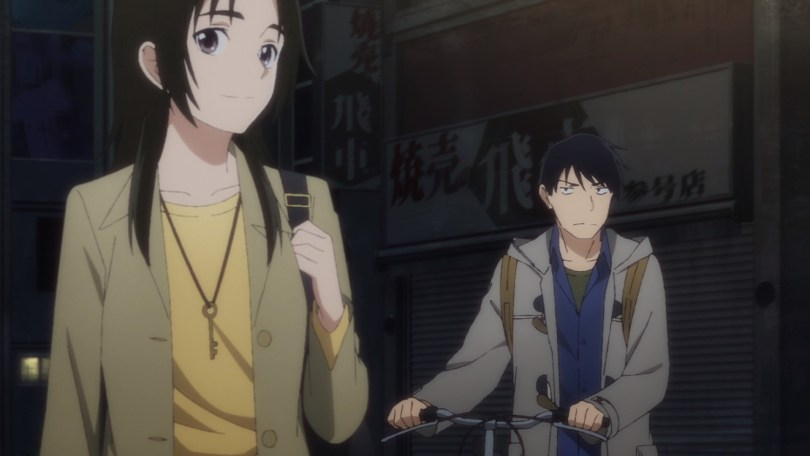 Rikuo walking with his bike at night with Shinako in the foreground