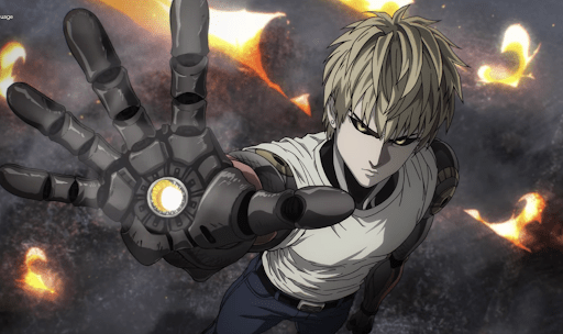 Genos pointing his palm cannon toward the camera