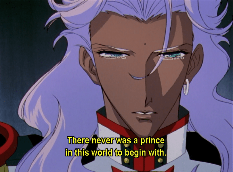 close-up of teary-eyed Akio. subtitle: There never was a prince in this world to begin with.