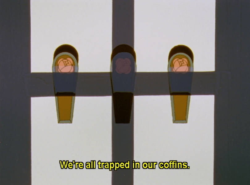 three coffins, one in shadow. subtitle: We're all trapped in our coffins