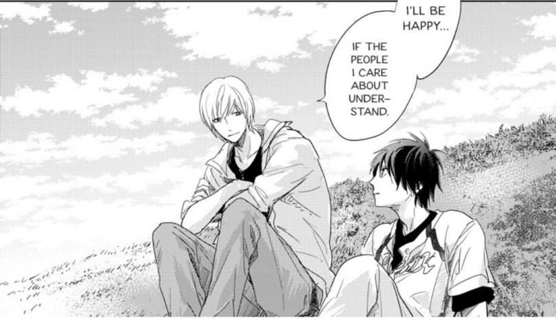 Kouhei sitting on a hill with Taichi. subtitle: It'd be enough if the people I care about understand.