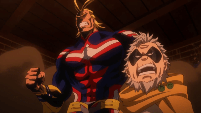 a tall buff blond man and small older masked man, braced for conflict