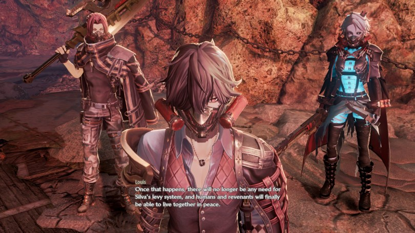 The game's three (much more dressed) male party members, with Louis in front. subtitle: Once that happens, there will no longer be any need for Silva's levy system, and humans and revenants will be able to live together in peace.