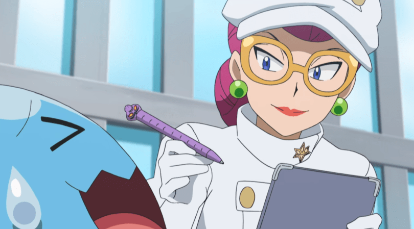 Team Rocket's Jesse in a disguise holding a clipboard