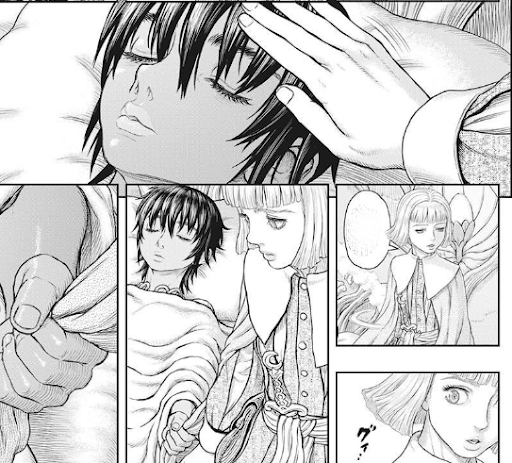 Seemingly sleeping Casca gripping her guardian's arm as she turns to leave