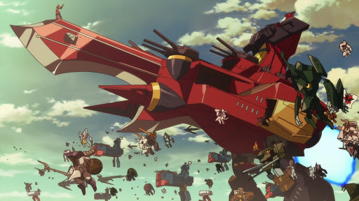 A fleet of ships with a red ship in the foreground