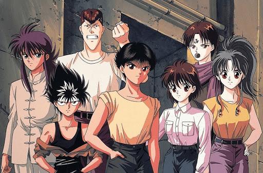The teenage cast of Yu Yu Hakusho arranged in a group photo