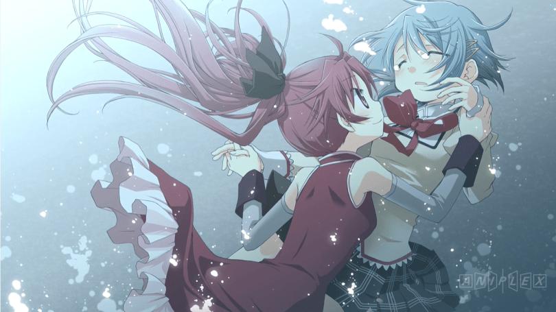 Kyoko and Sayaka underwater, Kyoko tenderly grasping crying Sayaka's hands