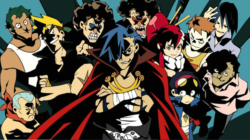 a group shot with Kamina in the center, looking toward the camera. Rendered with intense colors and thick dark lineart