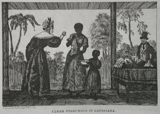 "drawing of a Black woman and her child being menaced by a white woman. labeled, ""Clear starching in Louisiana"""