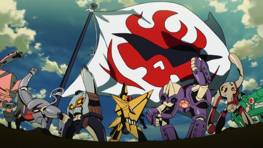 A line of mechs raising their fists against a flag of a flame wearing sunglasses
