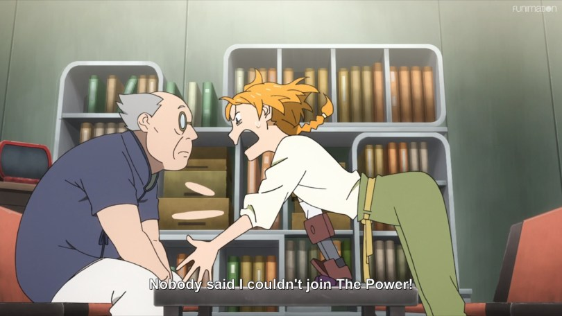 Natsume yells at an older man over a table