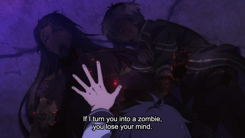 Two people lying dead on the ground with Anus's hand over them. Text: If I turn you into a zombie, you lose your mind.